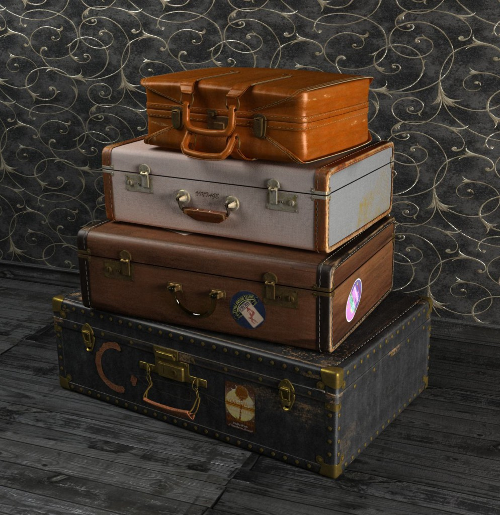 ..стопка чемоданов...