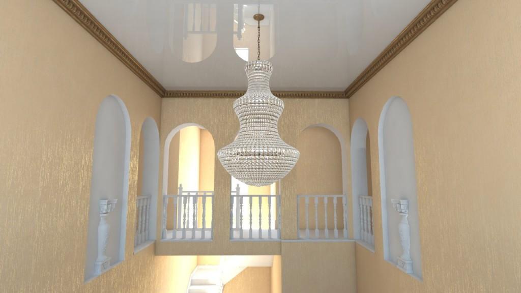 3D модель с визуализацией потолочного плинтуса и натяжного потолка